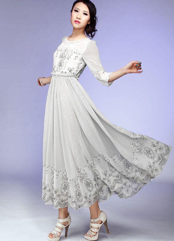 Chiffon maxi dress wedding dress 548 by xiaolizi on Etsy, $119.00