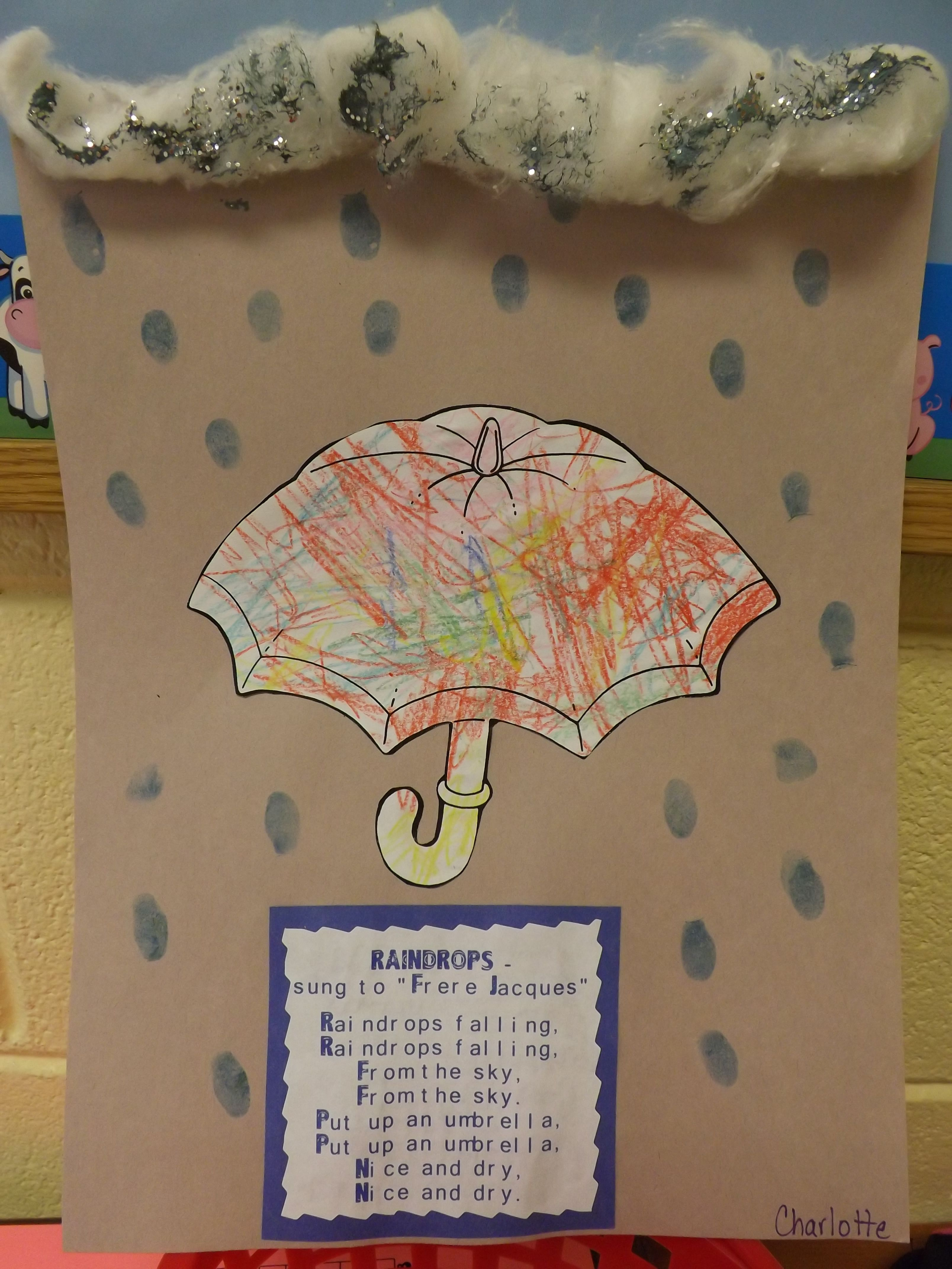 this week was weather color umbrella cut out add cotton balls