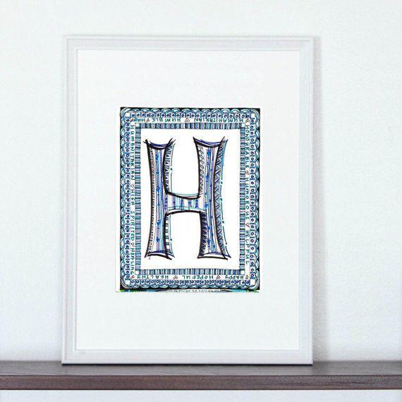 Printable Monogram Letter H Wall Art Girls Bedroom Decor childrens ...
