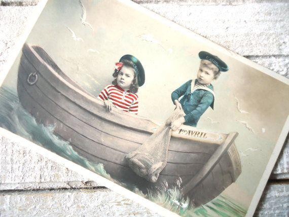 Antique french postcard Sea sailor costume suit by LizKnijnenburg