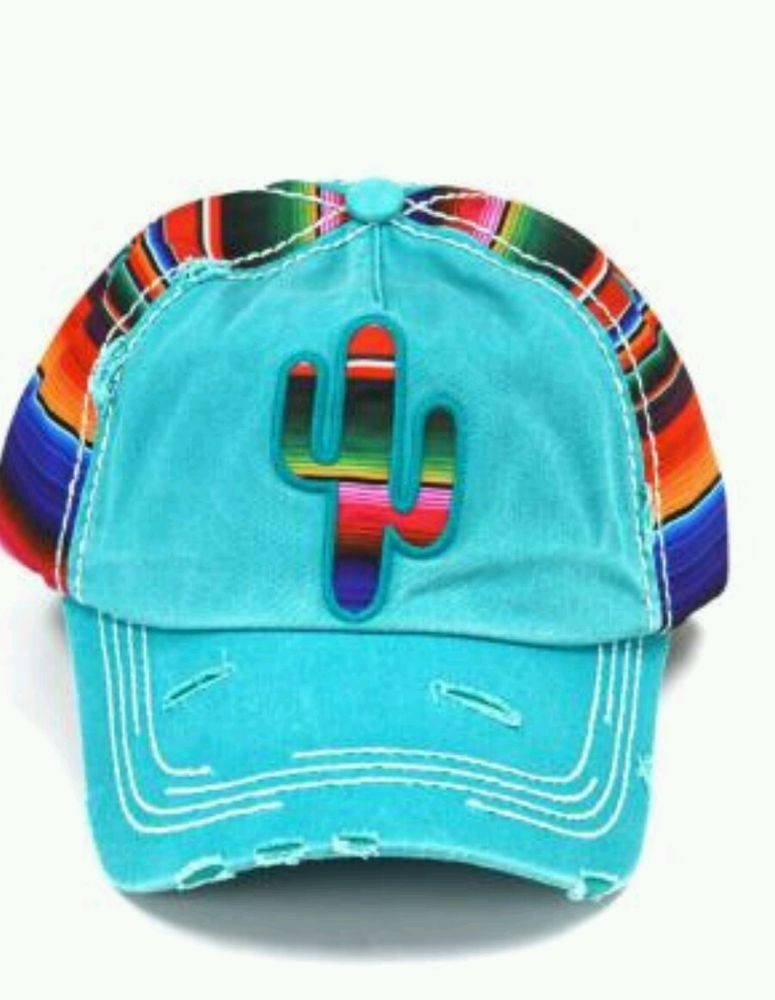 450b8acedeb8bd SERAPE CACTUS Cap hat Cowgirl Western Gypsy Southwest Turquoise Distressed