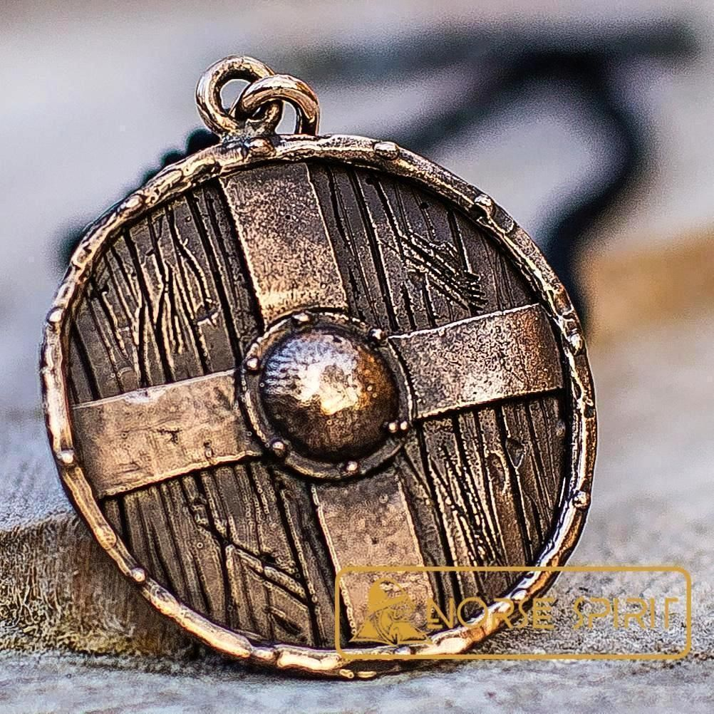 Bronze Rollo's Shield Viking Necklace | Viking jewelry ...