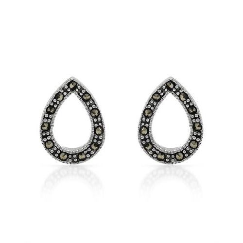 These beautiful earrings showcase metallic marcasite gemstones in a pear shape. The sterling silver completes the look.