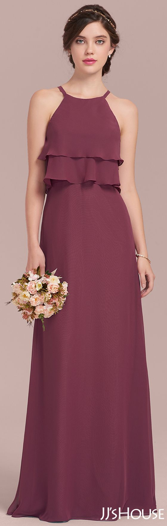 A-Line/Princess Scoop Neck Floor-Length Chiffon Bridesmaid Dress ...