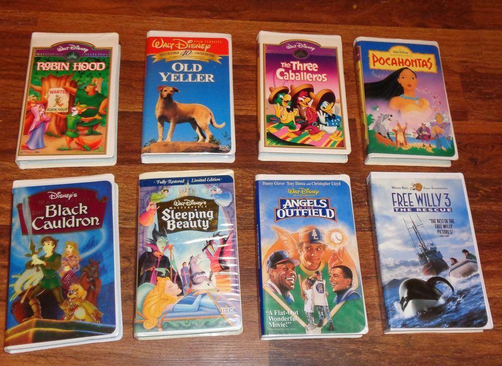 Lot Of 8 Vintage Walt Disney Vhs Tapes Robin Hood Sleeping Beauty