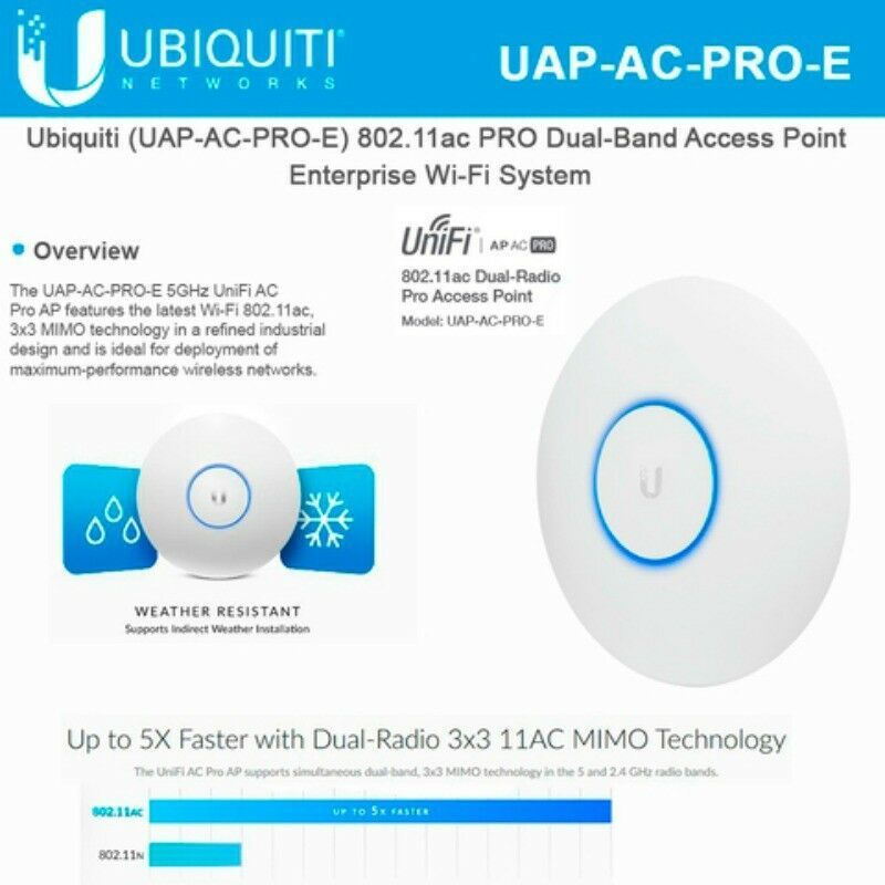 Wireless Access Points 175709 Ubiquiti Uap Ac Pro E Unifi Access Point Enterprise Wi Fi System No Poe Adapter Buy It Now Only Wifi Networking Save Power