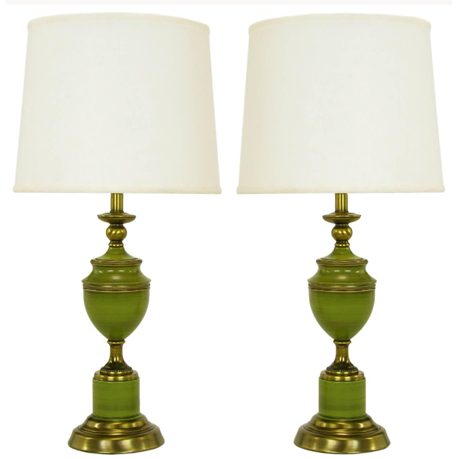 Pair Of Rembrandt Lamps Antiqued Brass U0026 Green Lacquer Empire Style Table  Lamps