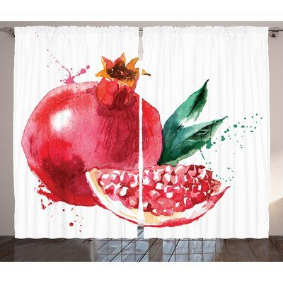 East Urban Home Pomegranate Nature Floral Room Darkening Rod Pocket Curtain Panels Size 54 X Watercolor Fruit Watercolor Paintings Fruit Art