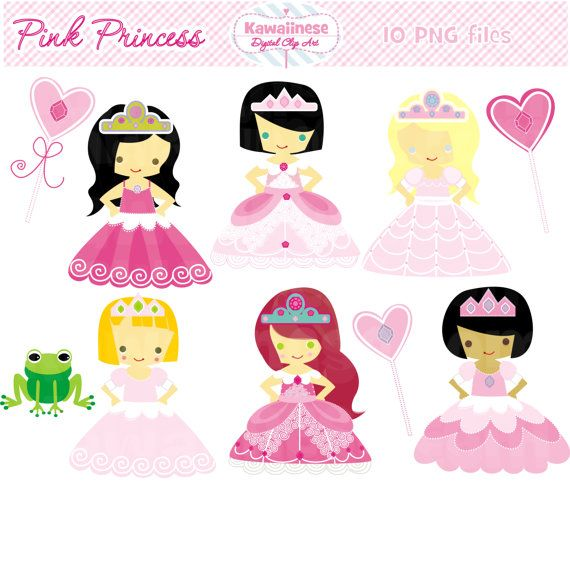 Princess Clip Art Princess Digital Clip Art Pink Princess. $5.00, via Etsy.