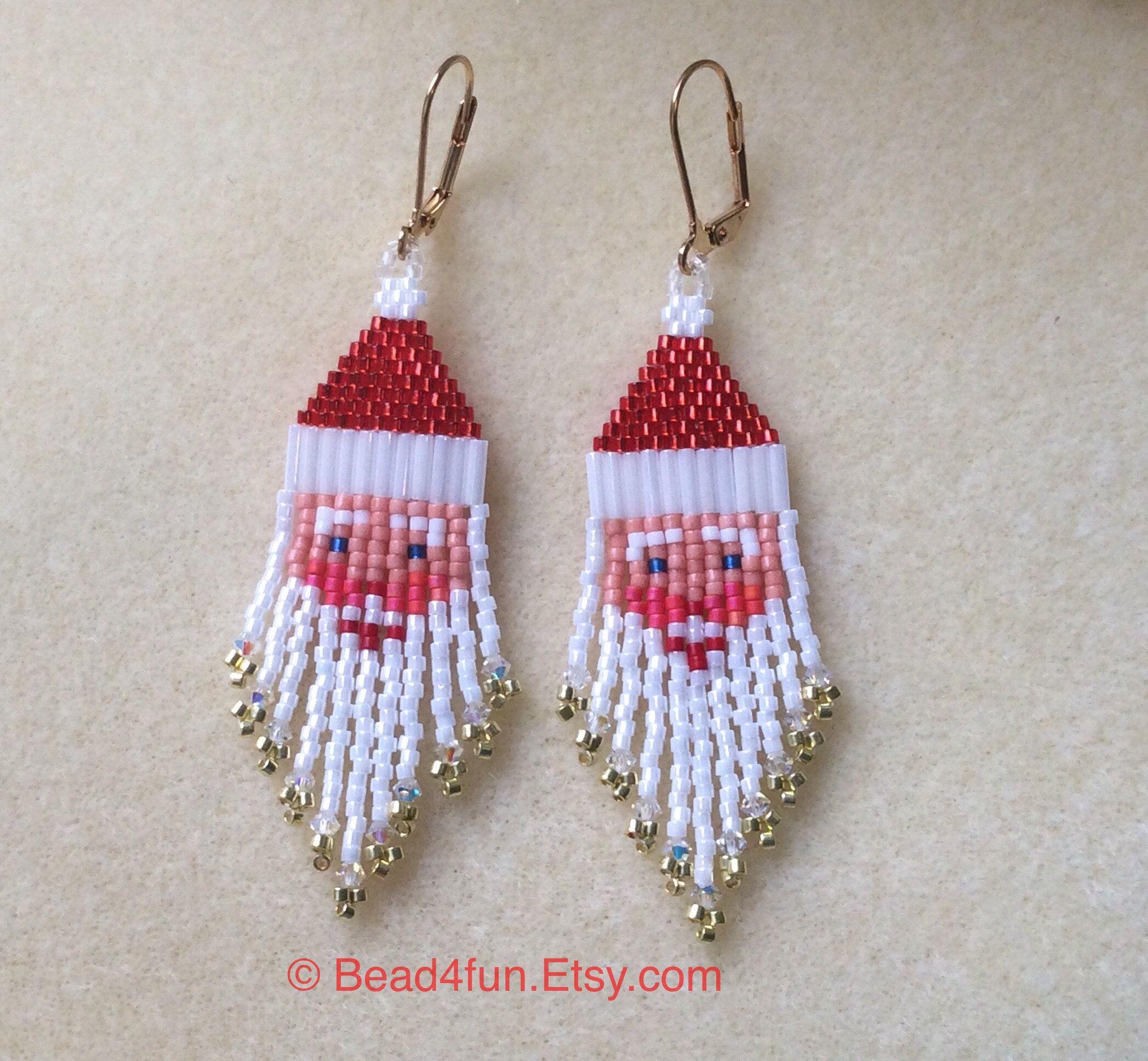 "Photo of Santa Seed Beaded Earrings, Name: ""Kris Kringle""   Santa   Kris Kringle   American Made   Ear Art   Christmas Earrings   Santa Earring  "