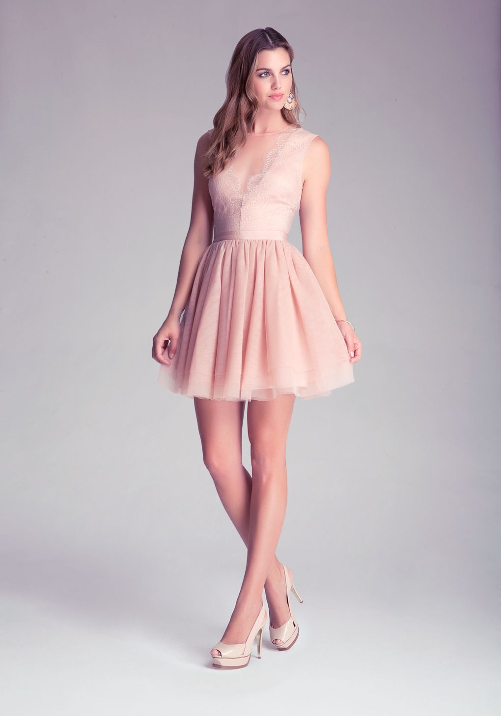 Bebe Flare Puff Skirt Dress in Pink (rose) | Lyst | Dresses | Pinterest