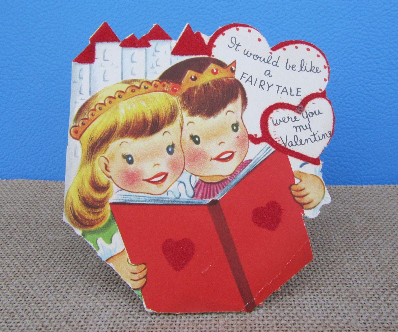 fairy tale card girl & boy castle crown book velvet flocked hearts