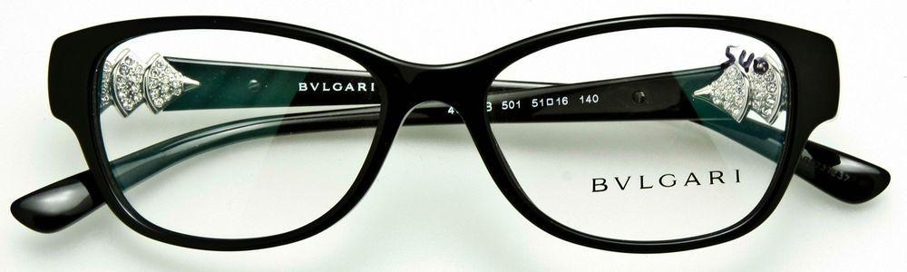57ed926e294f6 BVLGARI 4078-B 501 Womens Eyeglass Frame Black-Silver-Crystal Temple Arms  51mm