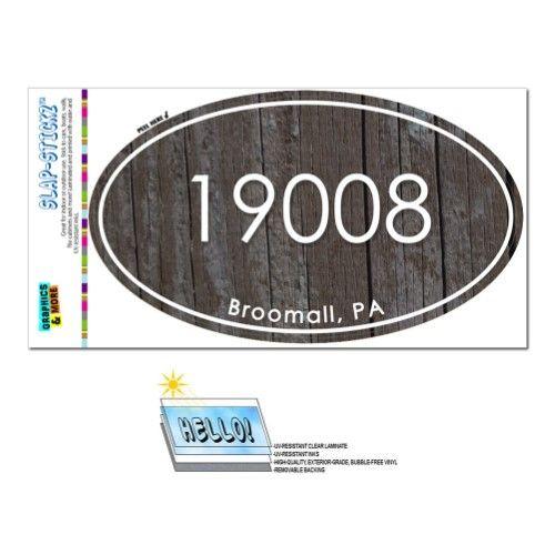 19008 Broomall Pa Unisex Wood Oval Zip Code Sticker