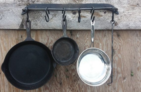 ON SALE  Hand forged pot hanger/holder wall by HilltopIronworks