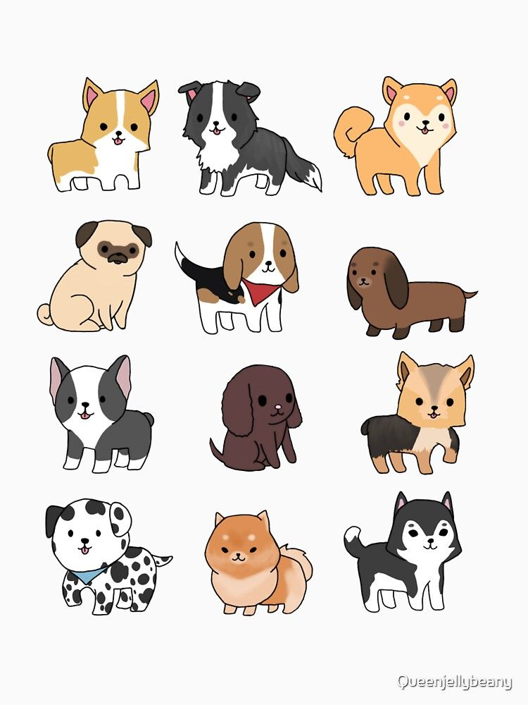 Dogs Essential T Shirt By Queenjellybeany In 2021 Cute Dog Drawing Cute Cartoon Drawings Cute Doodles