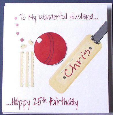 Personalised Handmade Cricket Birthday Card Husband Boyfriend Son Etc New Hand Made Cards Husband Birthday Card Birthday Cards For Boys Birthday Cards