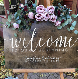 Wooden Wedding Welcome Sign #weddingwelcomesign