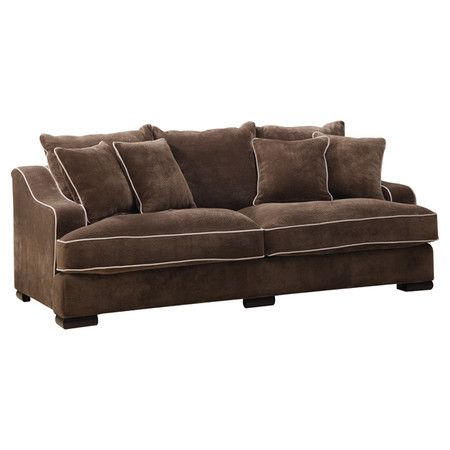 With A Clean Silhouette And Mocha Upholstery This Refined Sofa Adds Welcoming Appeal To Your Living Room Or Den Emerald Home Furnishings Sofa Sofa Furniture