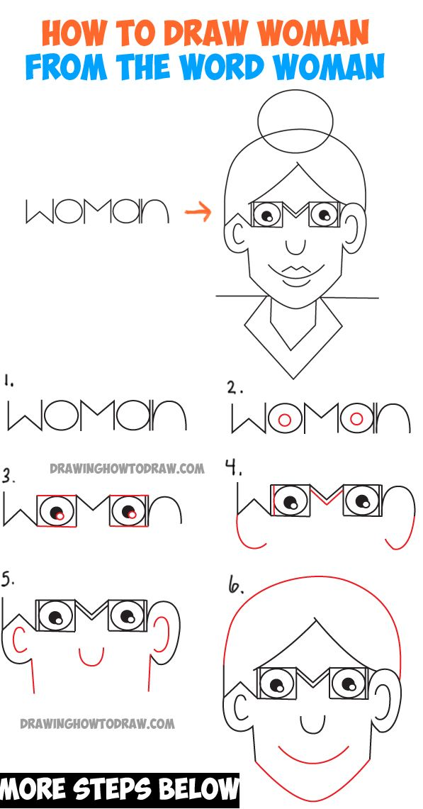 How To Draw A Cartoon Woman From The Word Woman Easy Word Fun Drawing Tutorial For Kids How To Draw Step By Step Drawing Tutorials Word Drawings Drawing Tutorial Cool Drawings