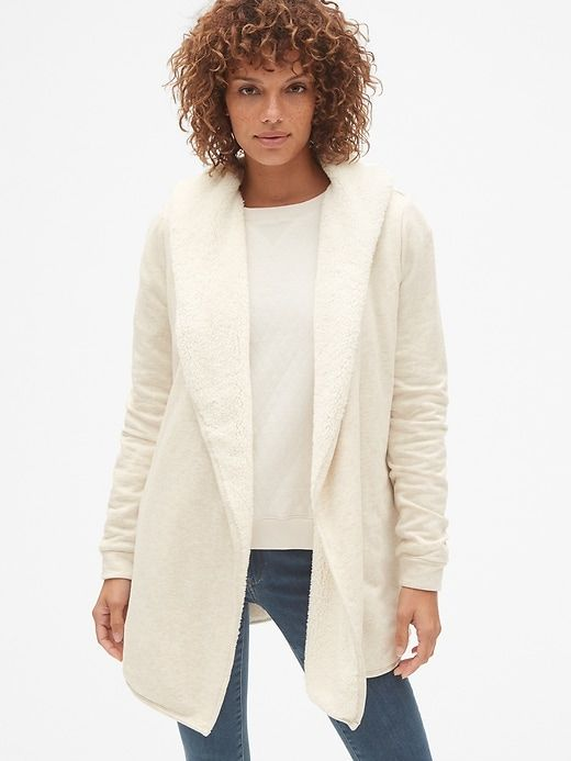 a63726e551 Gap Womens Sherpa-Lined Hooded Wrap Cardigan Sweatshirt Pink Heather