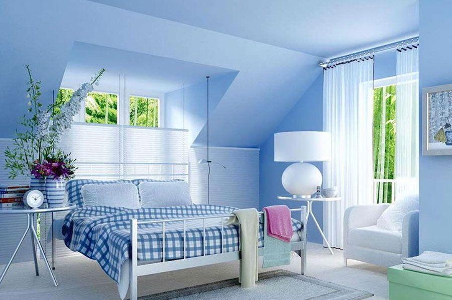 Camera da letto blu carta da zucchero 1