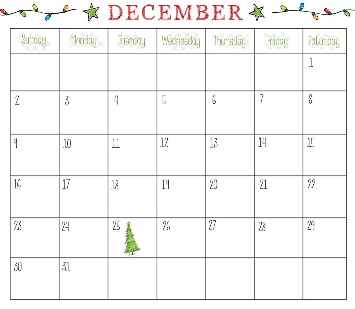 Printable December Blank Calendar For Office