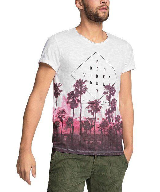 edc by ESPRIT Herren T-Shirt mit Print - Slim Fit, Gr. X-Small, Weiß ... 7a944fc31a