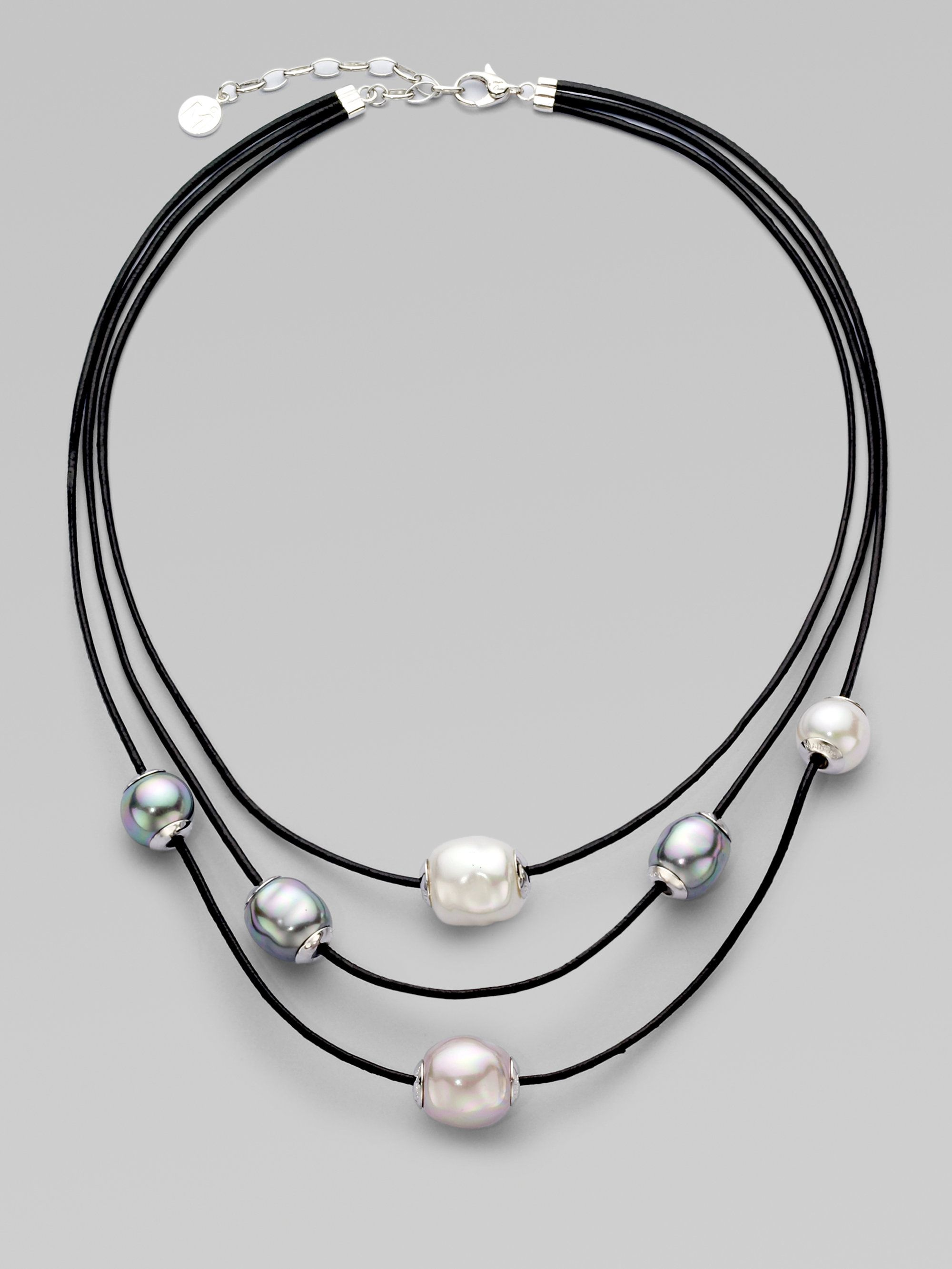 pave lyst pav necklace kenneth metallic row tritone tri bead multi in women new tone jewelry york s cole