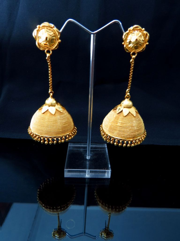 New Style Hanging Jhumka Earrings Gold Plated Indian Online