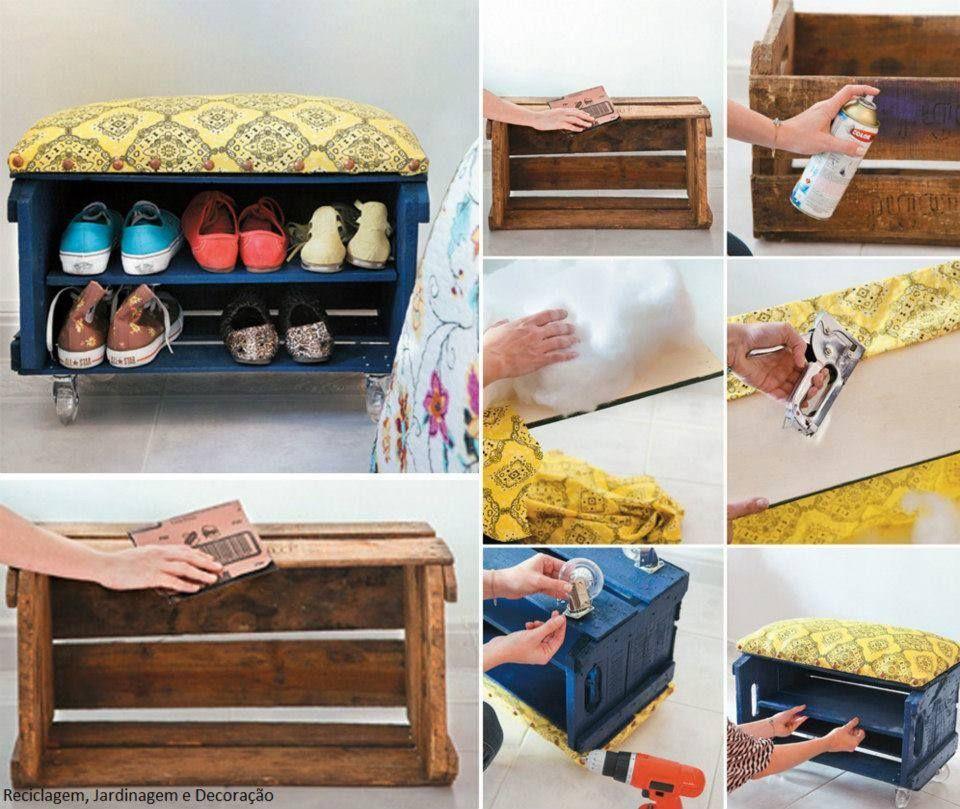 meuble chaussure en cagette recyclage pinterest deco rangement et bricolage. Black Bedroom Furniture Sets. Home Design Ideas