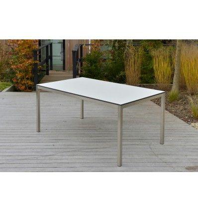 Gartentische  Gartentische - Tisch Manhattan HPL weiss Edelstahl - Möbel Ryter ...