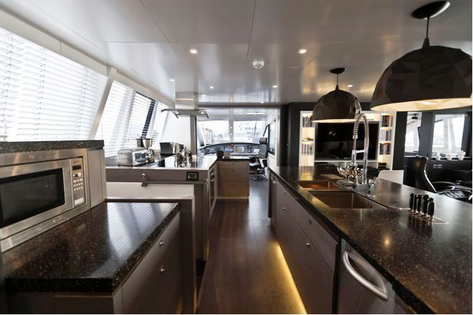 Private Mega Luxury Yachts Interiors | blue coast 95 cartouche yacht kitchen