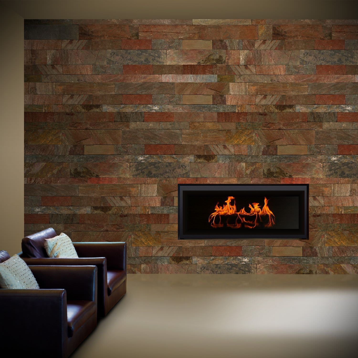 Subway Tile Living Room Interior: Interior Slate Tile With Brick Pattern Wall Interior