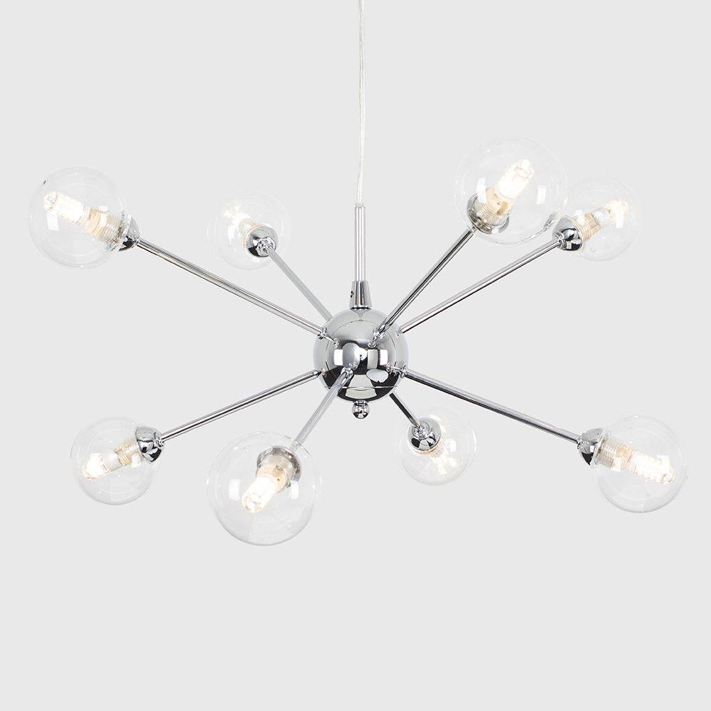 Sputnik Chandeliers 8 Lights Modern Ceiling Light Fixture Mid Century Industrial Pendant Lighting for Dining Room Kitchen Living Room, Black