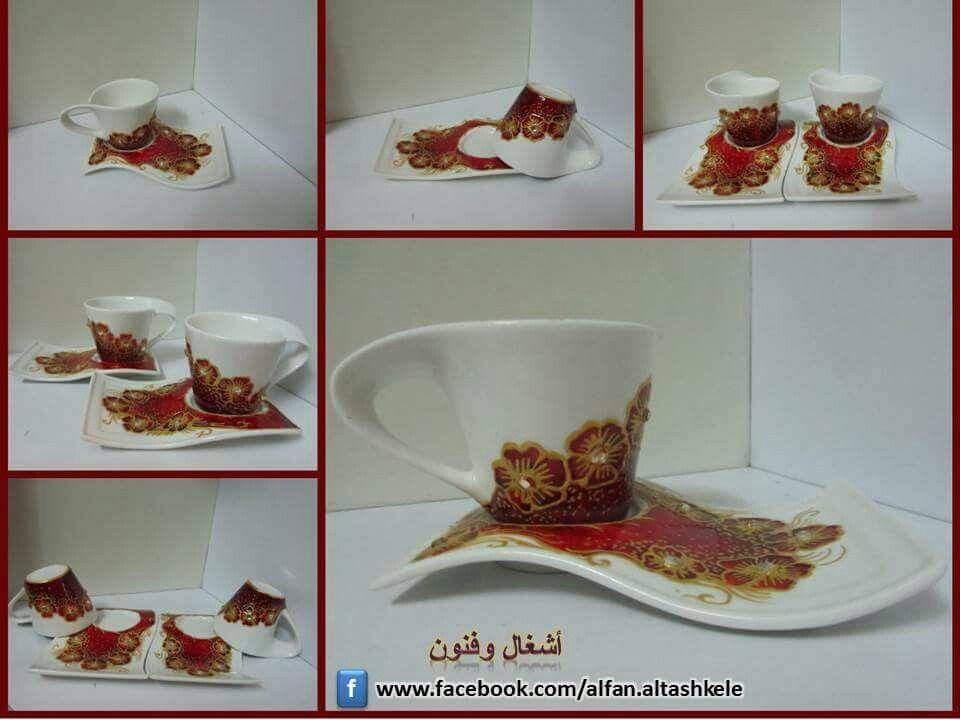 الرسم على فناجين القهوة Tableware Glassware Crafts