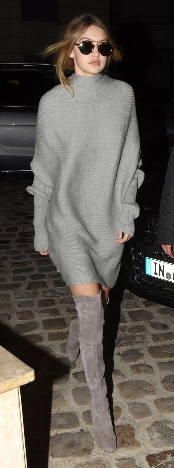 Gigi Hadid in Stuart Weitzman, Overknee-Stiefel.  #hadid #overknee #stiefel #stu… – Street Style