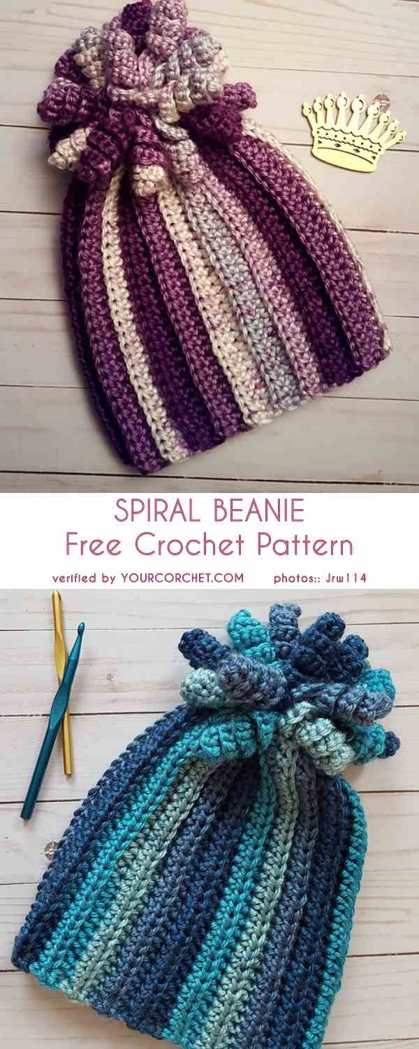 Spiral Beanie Hat for Child and Adult Free Crochet Pattern | plantas ...