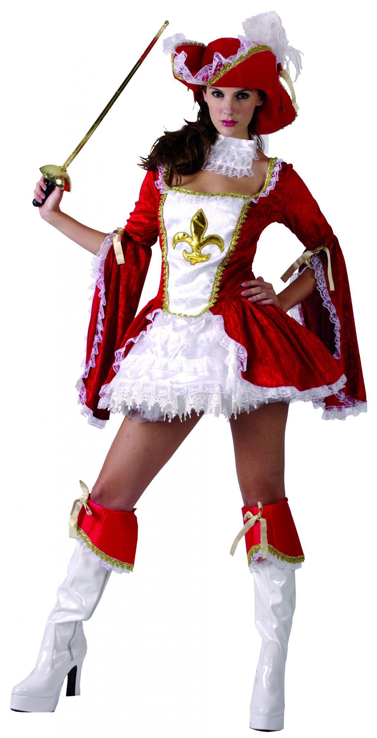 bad4071758 Disfraz de mosquetera roja para mujer  Este disfraz de mosquetera para mujer  incluye vestido