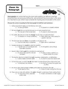 Worksheet - Choose the Homograph | Homographs, Worksheets and Free ...