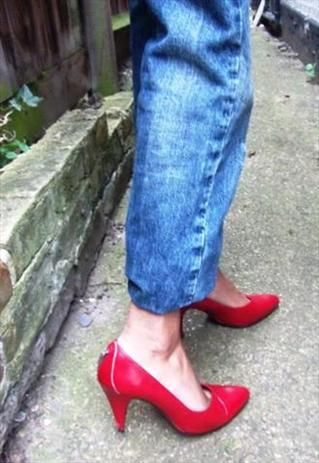 Vintage Red Brenda Zaro Courts Sz 7   Channel this seasons biker chick trend in these sexy vertigo inducing red leather stiletto court shoes by Brenda Zaro. These shoes feature an edgy zipper detail at the heel.