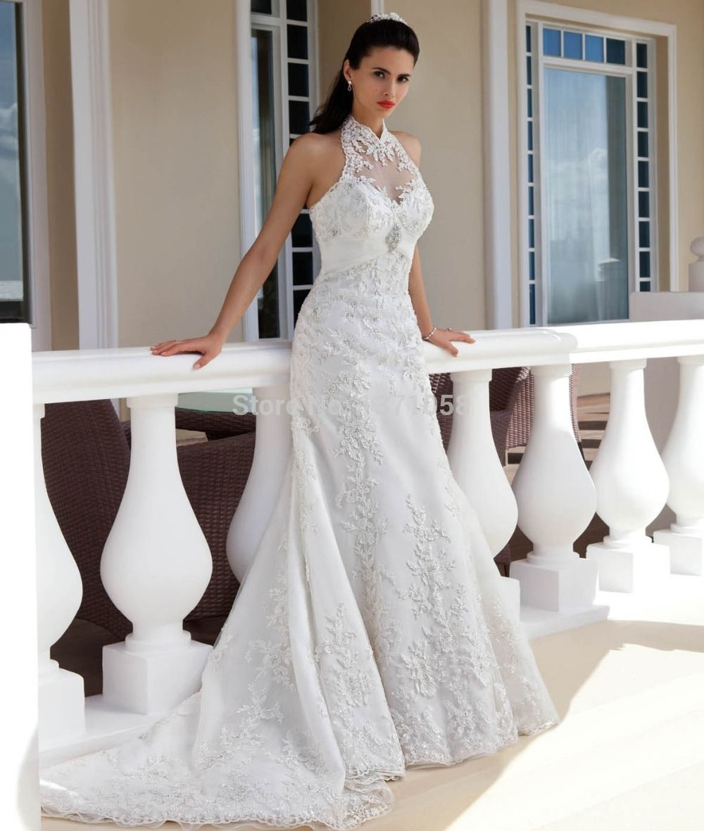 High fashion wedding dress  Click to Buy ucuc Charming  Custom Wedding Dresses High Neck Lace