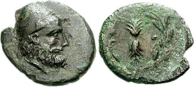 Cabeza de Odiseo llevaba píleo representado en una moneda del siglo tercero antes de Cristo de Ithaca.