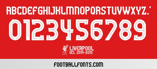 Liverpool 2014-2015 UCL Font TTF | Football Fonts | ART