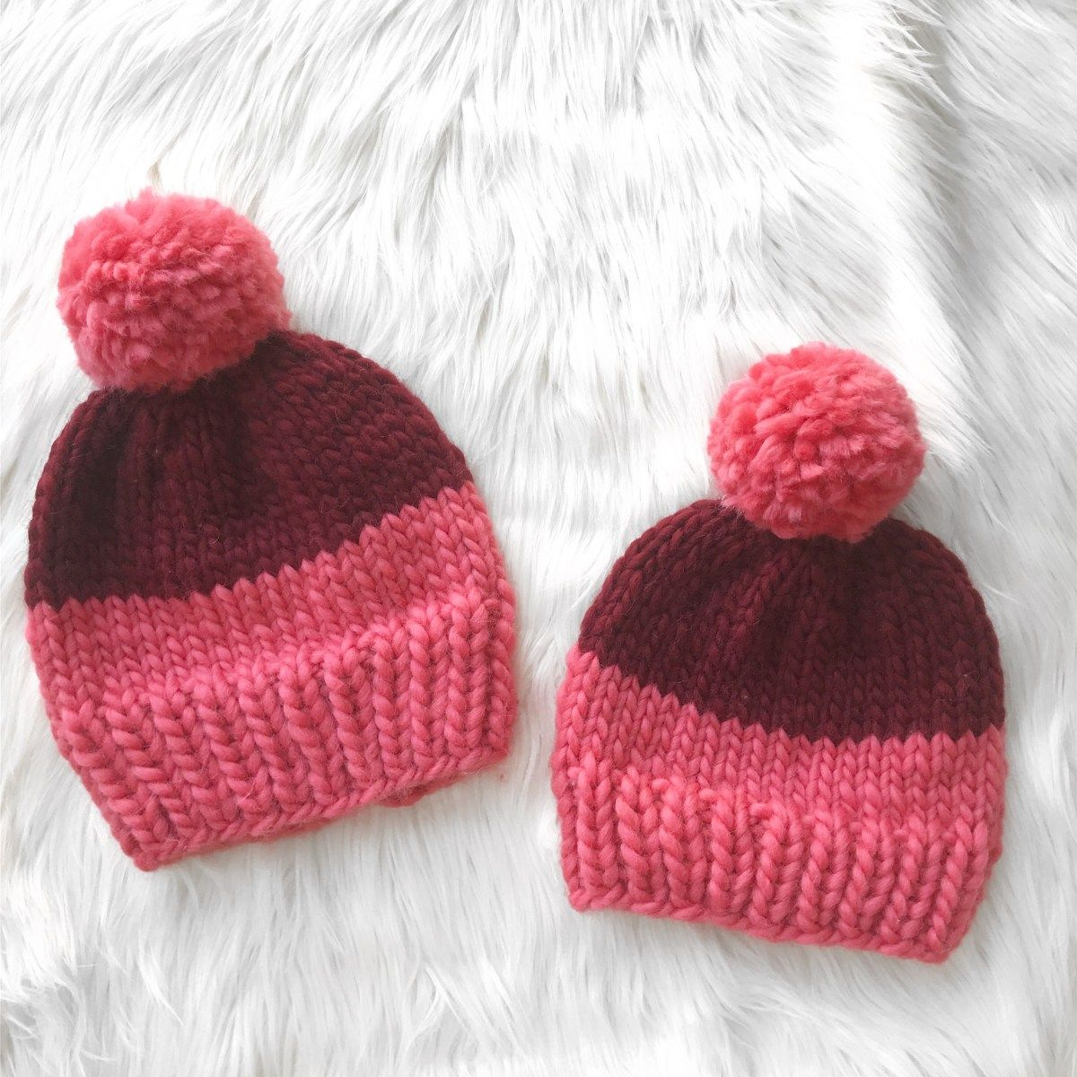 Two-Tone Chunky Beanie (With images) | Knitting patterns ...