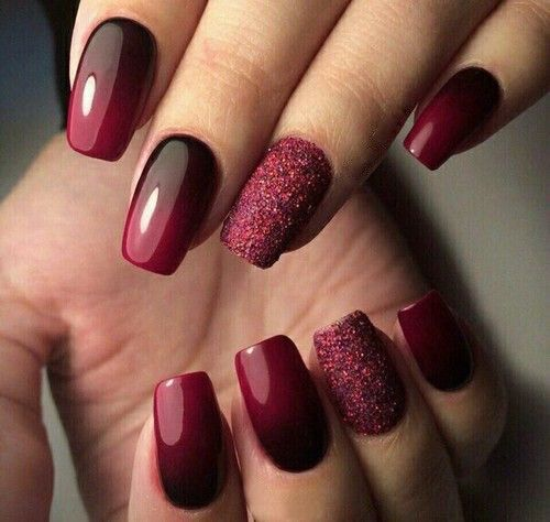 Ombre Nails | Maroon and Black Ombre Nails with a dash of Glitter