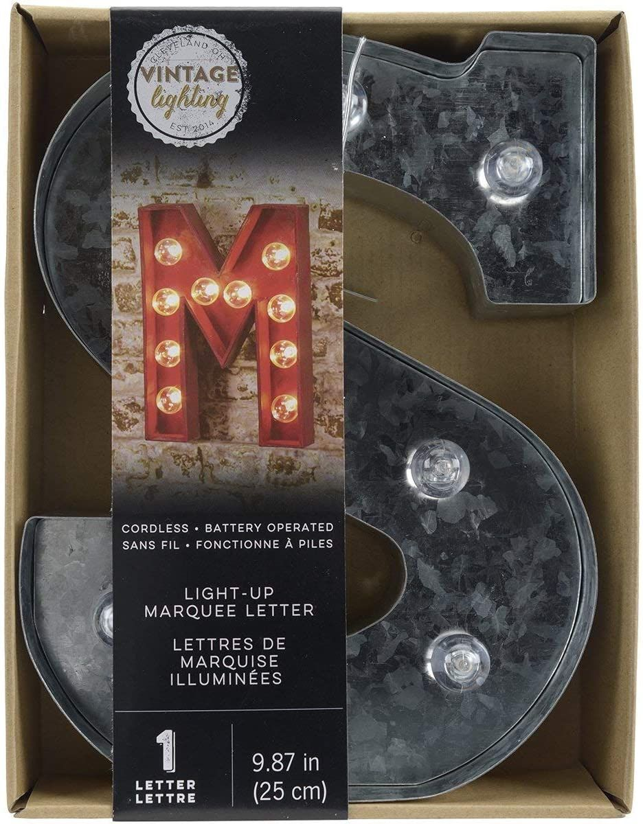 Darice 5915 719 Silver Metal Marquee Letter S 9 87 Tall Galvanized Finish Marquee Letters Bottle Opener Wall Letter Wall