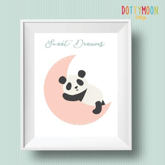 Sweet dreams baby panda , Playroom print, nursery print, wall art,baby, playroom poster, instant digital download,children wall art #babypandas