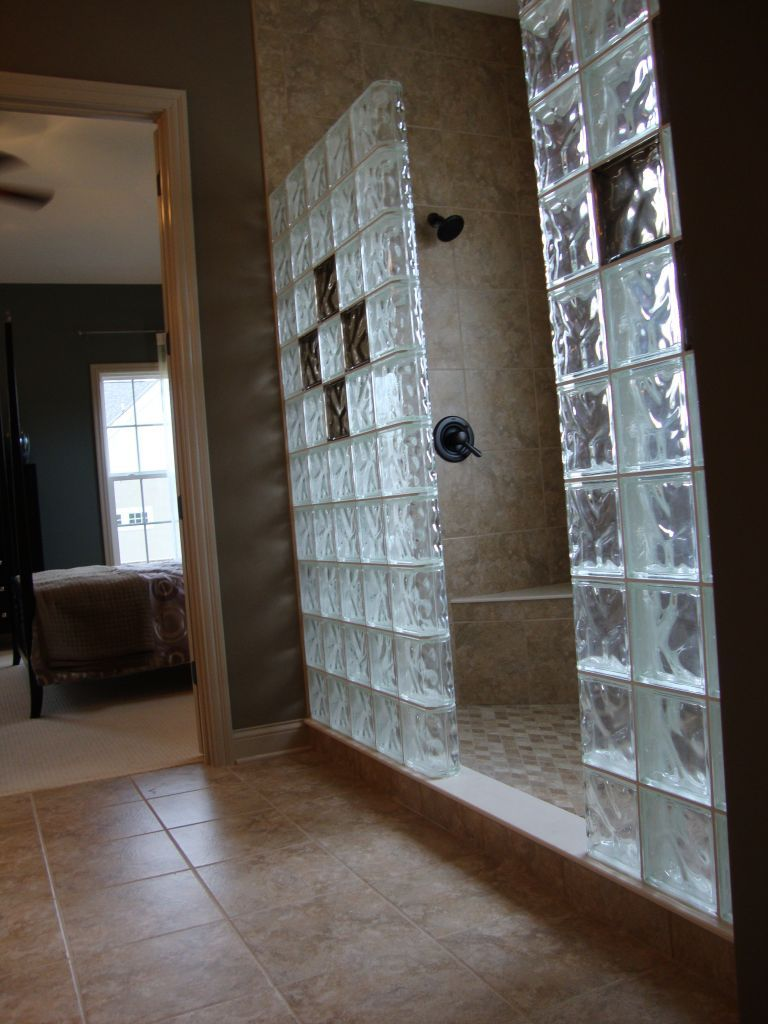 glass block walls in bathrooms glass block shower in new