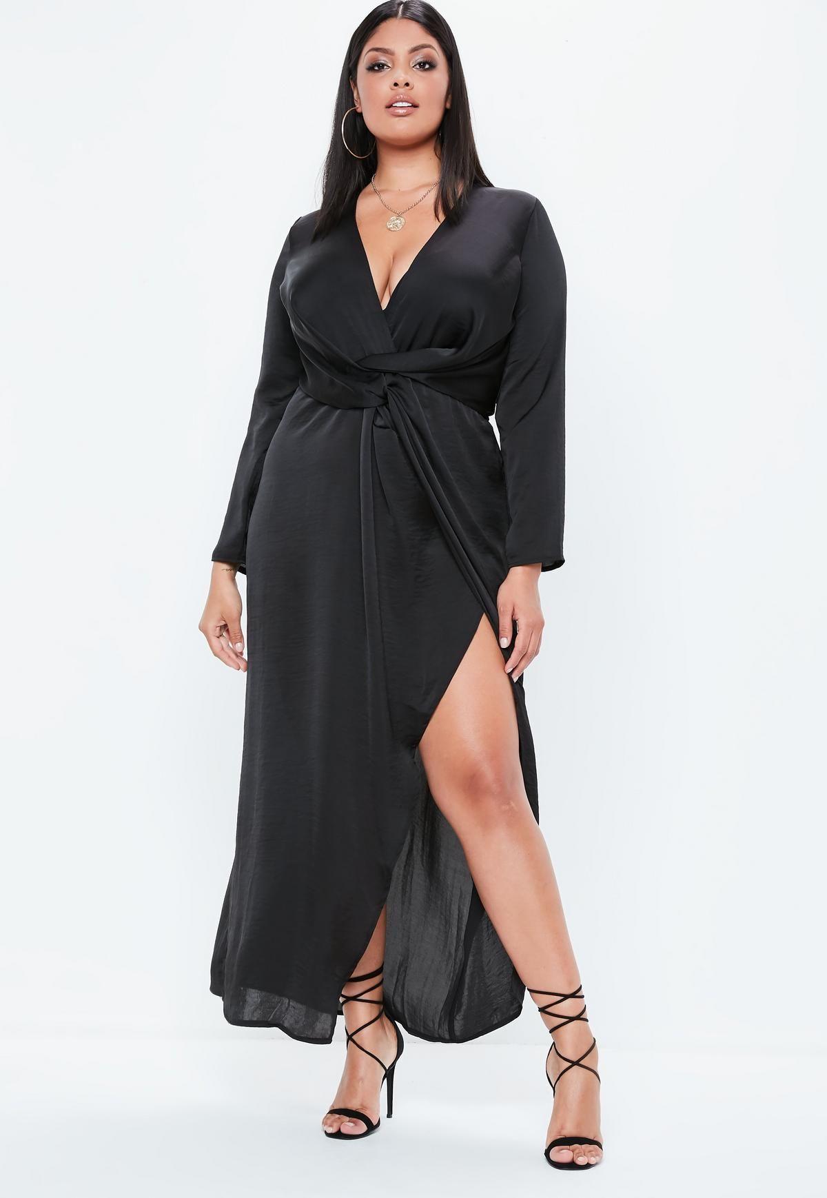 15eb66beb7f Plus Size Black Wrap Maxi Dress - Data Dynamic AG
